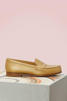 J.M. Weston Gold Finish Lagun Mahogany Loafers