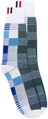 Thom Browne Fun-Mix Check Mid-Calf Socks