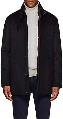Barneys New York Men's Double-Collar Brushed Cashmere Coat - Navy