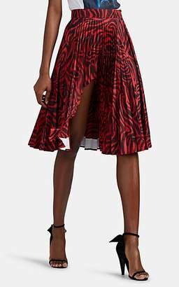 Calvin Klein Women's Shark-Bite Zebra-Print Tech-Satin Midi-Skirt - Red Zebra