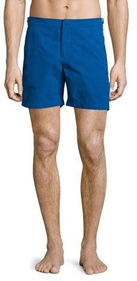 Orlebar Brown Bulldog Solid Swim Trunks, Blue $240 thestylecure.com