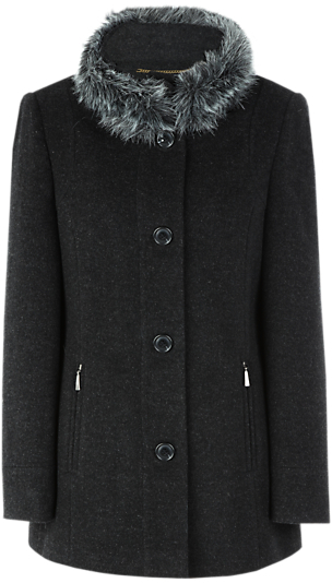 Windsmoor Short Charcoal Faux-Fur Collar Coat, Grey