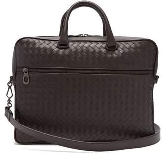 Bottega Veneta - Intrecciato Leather Briefcase - Mens - Dark Brown