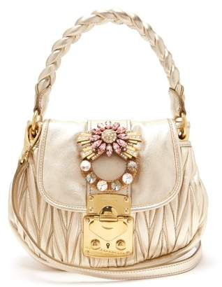 Miu Miu Coffer Mattelasse Leather Cross Body Bag - Womens - Gold