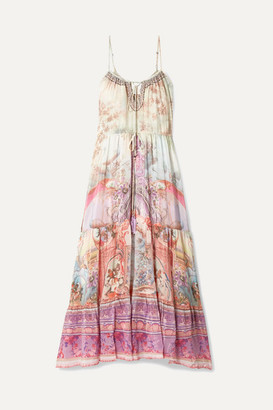 Camilla Tiered Embellished Printed Silk Crepe De Chine Maxi Dress - Pink