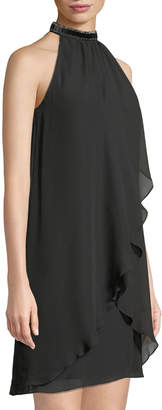 Donna Ricco Halter-Neck Wrapped Chiffon Shift Dress