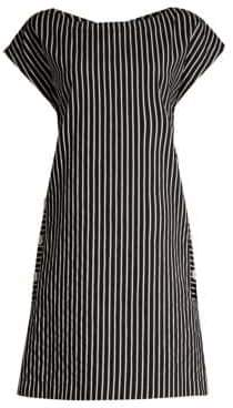 Piazza Sempione Women's Striped Cap-Sleeve Shift Dress - Black White - Size 40 (4)