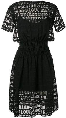 Love Moschino flared logo embroidered dress