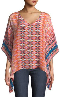 Tolani Briyana Graphic-Print Silk Tunic Top