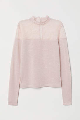 H&M Fine-knit Sweater with Lace - Orange