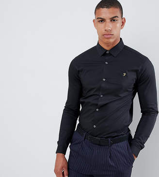 Farah Smart Swinton skinny smart poplin shirt with stretch in black