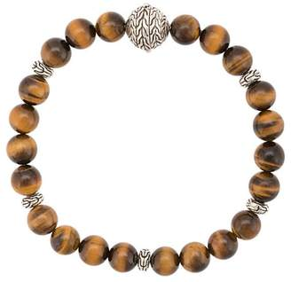 John Hardy Silver Classic Chain Tiger Eye Round Bead Bracelet