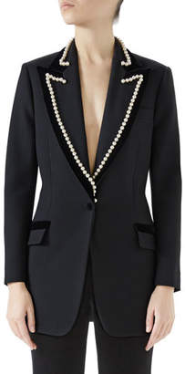 Gucci Peak-Lapel One-Button Wool Jacket w/ Velvet Trim & Pearl-Embroidery
