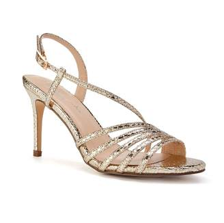 282efee2e629 Paradox London Hailey Gold High Heel Snake Print Caged Sandals