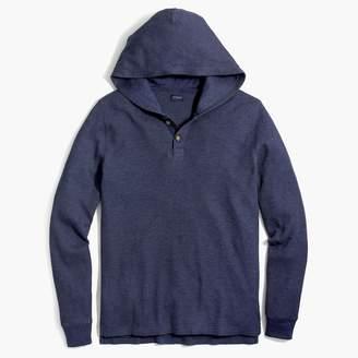 J.Crew Thermal heathered henley hoodie