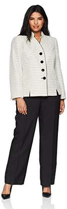 Le Suit Women's Size Plus Tweed 4 Bttn Inverted Collar Pant