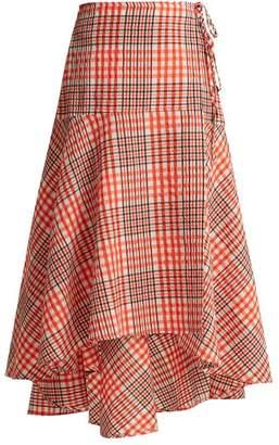 Ganni - Charron Tartan Cotton Blend Seersucker Skirt - Womens - Red Multi