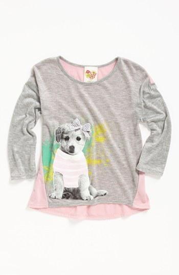 Kiddo 'Puppy with Glasses' Shirt (Little Girls) Grey 4
