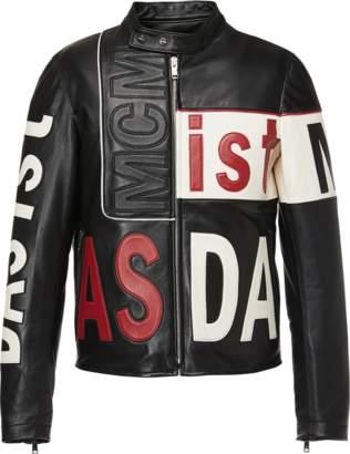 MCM Men's Intarsia Leather Racer Jacket