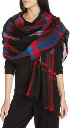 Eileen Fisher Plaid Wool & Organic Cotton Scarf
