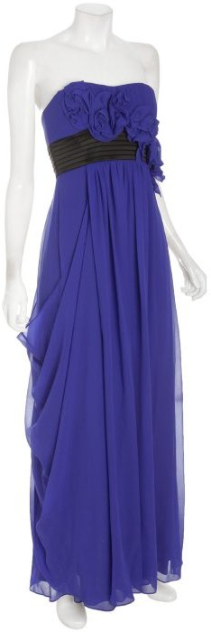BCBGMAXAZRIA regal blue georgette strapless gown