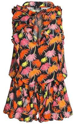 Just Cavalli Ruffle-Trimmed Printed Crepe Playsuit