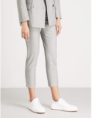 Mo&Co. Pinstriped skinny cropped wool trousers
