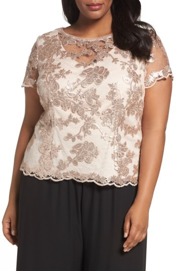Alex Evenings Plus Size Women's Alex Evenings Sequin Lace Blouse
