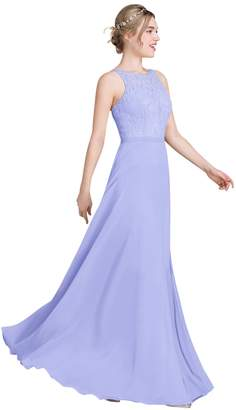 Loffy Women's Long Prom Dress Bridesmaid Dress Lace Chiffon Evening Gown Grey