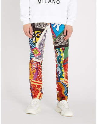 Moschino Multi-print slim-fit tapered jeans