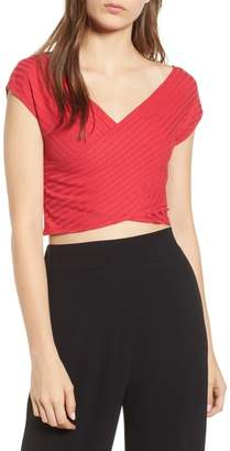 Madison & Berkeley Ribbed Wrap Crop Top