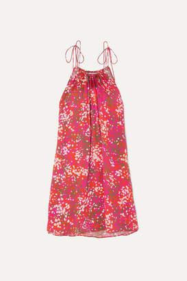 Stella McCartney Net Sustain Tie-detailed Printed Hammered-satin Halterneck Mini Dress