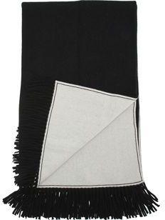 Barneys New York Reversible Cashmere Throw- Black/Ivory