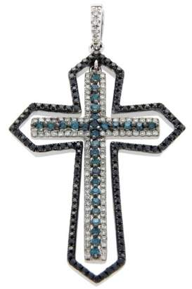 Effy 14K White Gold White Black & Green Diamonds Cross Pendant