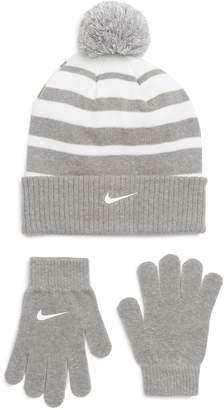 Nike Stripe Pom Beanie & Gloves Set
