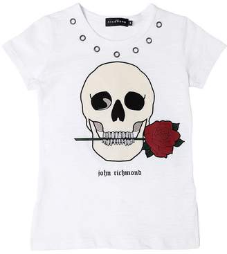 John Richmond Skull Print Cotton Slub Jersey T-Shirt