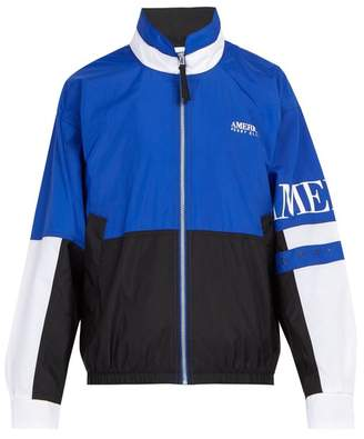 Perry Ellis Logo Print Nylon Jacket - Mens - Blue