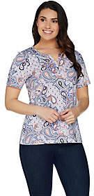 Denim & Co. Paisley Print Short Sleeve Top