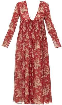 RED Valentino Pleated Floral V-Neck Midi Dress