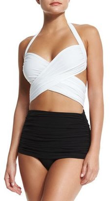 INTERACTIVE by Norma Kamali XO Bill Mio Combo One-Piece Swimsuit, White/Black $350 thestylecure.com