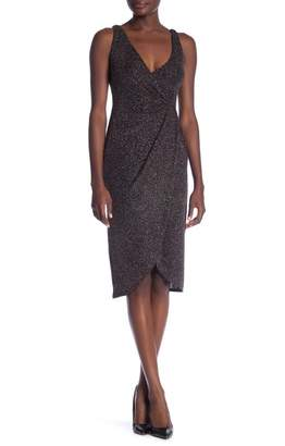 Maggy London Glitter Ruched Front Sleeveless Dress
