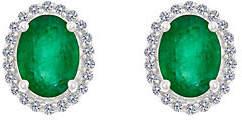 Premier 8x6mm Oval Emerald & Diamond Stud Earri