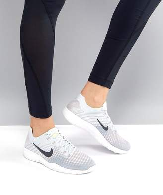 Nike Training Free Flyknit Sneakers In Grey And Blue