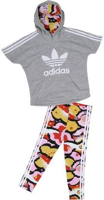 adidas Infant Girls Cloud Hoody And Leggings Set Medium Grey Heather/Multicolour