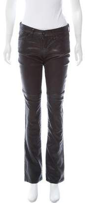 Gold Sign Mid-rise Leather Pants