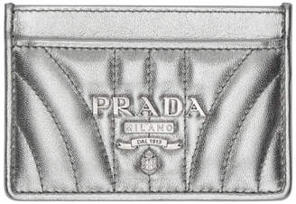 Prada (プラダ) - Prada シルバー キルト ロゴ カード ホルダー