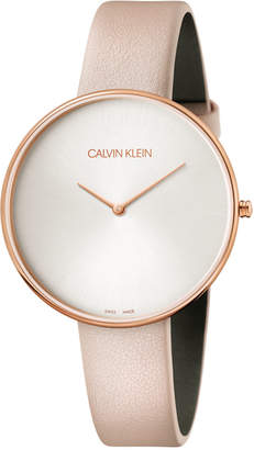 Calvin Klein Full Moon Pink Leather Strap Watch 42mm