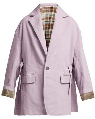 Acne Studios Oversized Single Breasted Cotton Blazer - Womens - Light Purple