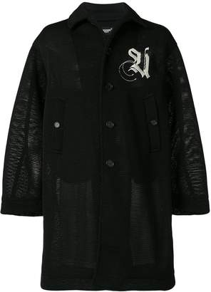 Undercover embroidered detail mesh coat