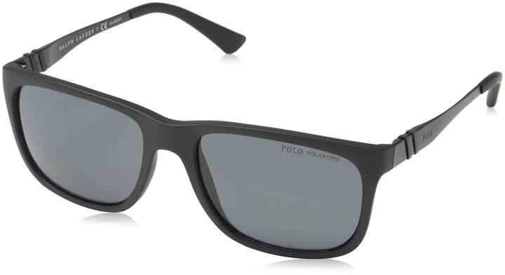 Polo Ralph Lauren Polo PH4088 Sunglass-528481 Matte Black (Polarized Gray Lens)-55mm